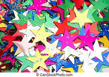 Celebratory Background from colour stars. Macro