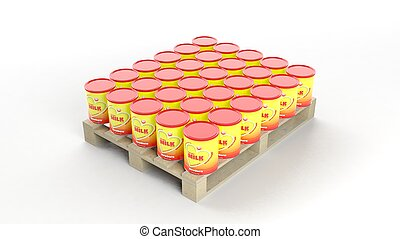 Powder Milk cans set on wooden pallet, isolated on white...