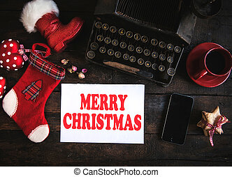 Christmas letter - Merry Christmas concept on wooden...