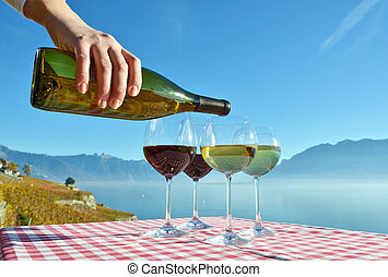 Wine against Geneva lake. Switzerland
