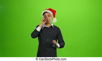brutal man in Christmas hat. green screen. Slow motion -...
