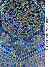 Dome of the mosque, oriental ornaments from Bukhara,...