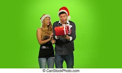 beautiful happy christmas holiday couple, love and smiling, green screen, Slow motion