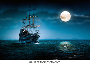 Flying Dutchman - sailing ship - Sailing ghost ship on the...