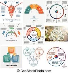 Set 9 templates Infographics cyclic processes on three...