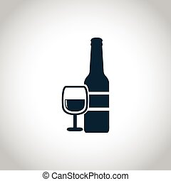 Wine bottle with glass icon