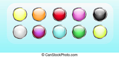 Vector buttons - Set of editable glossy web buttons