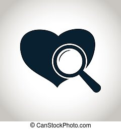 Heart checkup icon Black flat symbol isolated on a white...