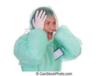 shouting shocked healthcare worker on white background