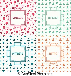 Set of mono line polygon hipster seamless pattern with...