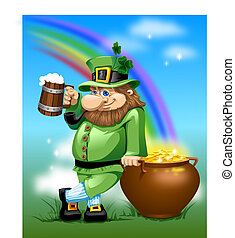 Leprechaun with beer and gold - Irish man with mug beer and...