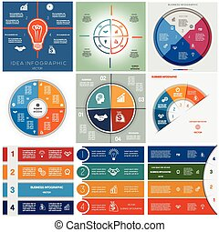 Set 9 templates Infographics cyclic processes, four...