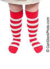 Striped socks - Shot of childrens striped red and white...