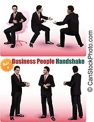 Male Business People Handshake Set 4 - Realistic characters...