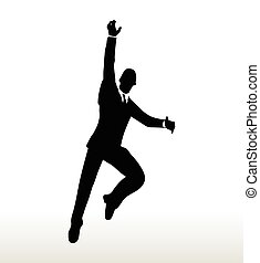 silhouette of businessman hanging - EPS 10 Vector-...