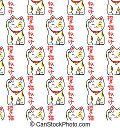 Maneki-neko. Seamless pattern with japanese lucky welcoming...