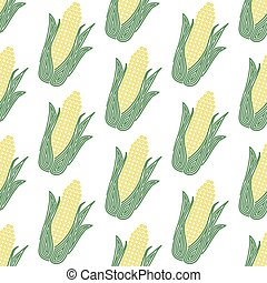 Corn. Seamless pattern with spiral corns. Vector vegetable illustration