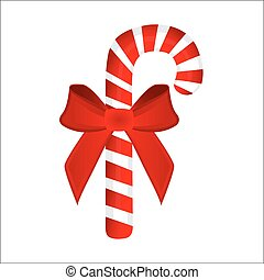 sweet traditional Christmas candy cane on white background