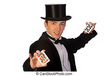 young magician performing with cards on white background