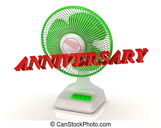 ANNIVERSARY - Green Fan and bright color letters on a white...