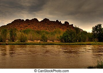 Desert River and Mountain - River in the winter Arizona...