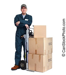 Delivery man with pacages. - Delivery man with boxes....