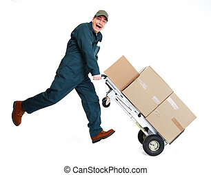Delivery man with pacages.