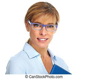 Beautiful business woman wearing glasses.