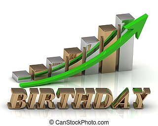 BIRTHDAY- inscription of gold letters and Graphic growth and...