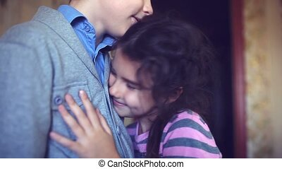 girl teen clung to boy chest hugging love happiness - girl...
