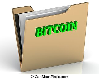 BITCOIN- bright color letters on a gold folder on a white...