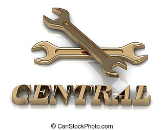 CENTRAL- inscription of metal letters and 2 keys on white...
