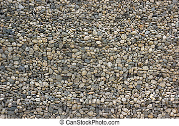 Backgrounds collection - Wall built of sea pebbles -...