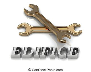 EDIFICE- inscription of metal letters and 2 keys on white...