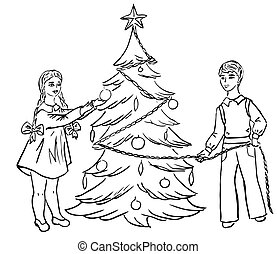 Children dress up Christmas tree vector drawing