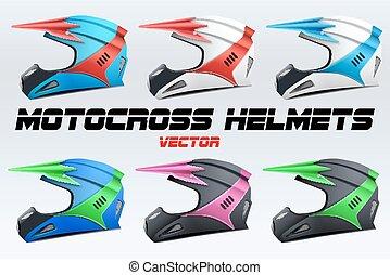 Set of Original Motorcycle Helmets. Extreme enduro motocross...