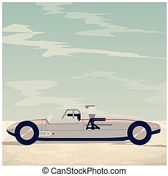 Retro vector silver racing car - Retro vector oldschool...