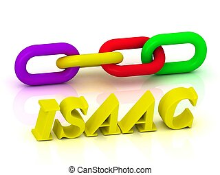 ISAAC- Name and Family of bright yellow letters and chain of...