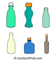 Bottles - Set of Sketch Bottles hand-drawn, art Doodle...