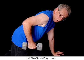 Senior Power - Senior citizen fitness training by lifting...