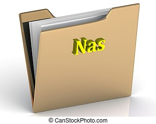 Nas- bright color letters on a gold folder on a white...