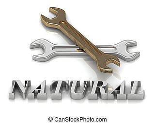 NATURAL- inscription of metal letters and 2 keys on white...