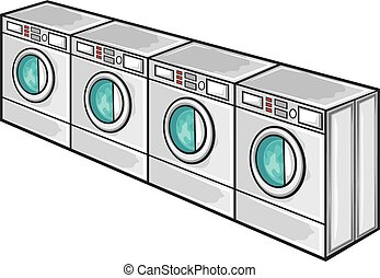 line of industrial laundry machines (rows of washing...