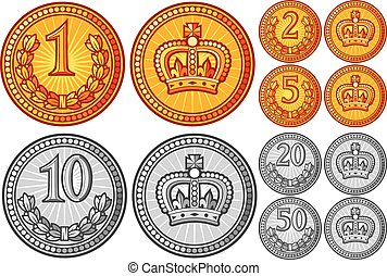 abstract gold and silver coins collection