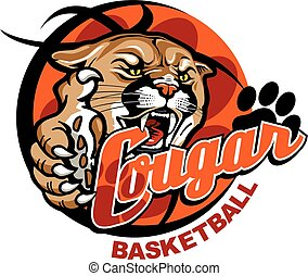 cougar basketball team design with cougar mascot inside...