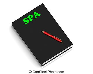 SPA- inscription of green letters on black book on white...