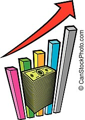 positive business graph with arrow and big stack of money -...