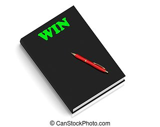 WIN- inscription of green letters on black book on white...