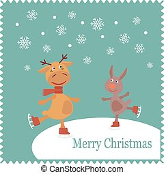 Greeting card with deer and rabbit skates