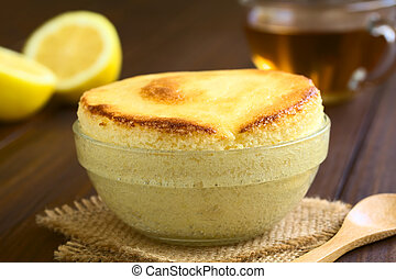 Lemon Souffle - Homemade lemon souffle in glass bowl, with...